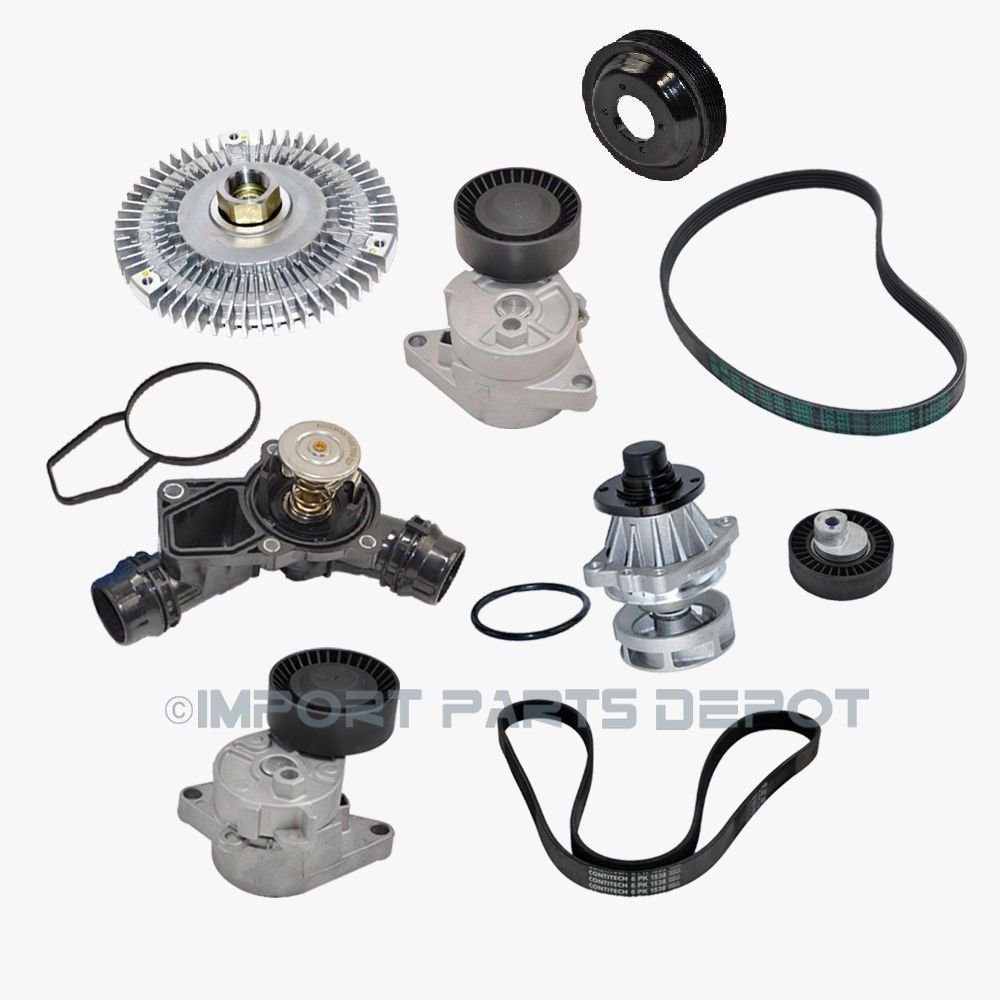 Water Pump Fan Clutch Thermostat Belt Tensioner Pulley Belt for BMW E46 E39 Ci i xi Classes X5 11517527799/11511436590/11527505302/1537509227/11281433571/5PK863/6PK1538/11281427252/11281748130 (9pcs) KOOLMAN KM_BMW_M54_Engine_Cooling_Kit_9pcs