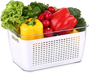 MRT Produce saver storage containers - Fresh Vegetable Fruit Storage Containers - Fridge Food Storage Containers - Keep Vegetables Fresh Easy to Clean(White 2 PACK 4.5 L)