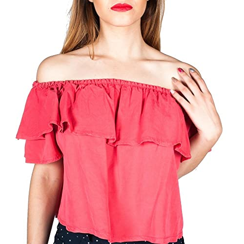 Blusa Volantes Tencel Roja