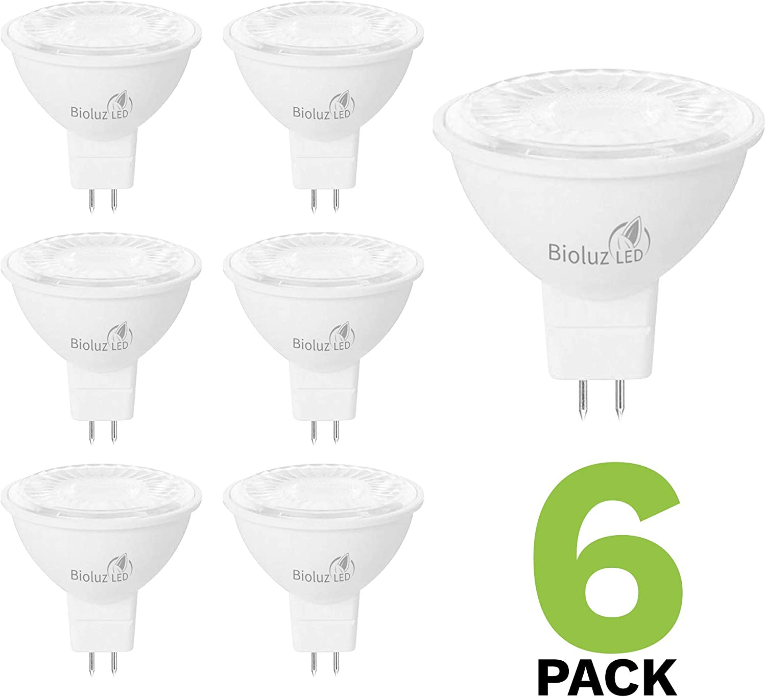 6 Pack Bioluz LED MR16 LED Bulb 50W Halogen Replacement Non-Dimmable 7w 3000K 12v AC/DC UL Listed Pack of 6