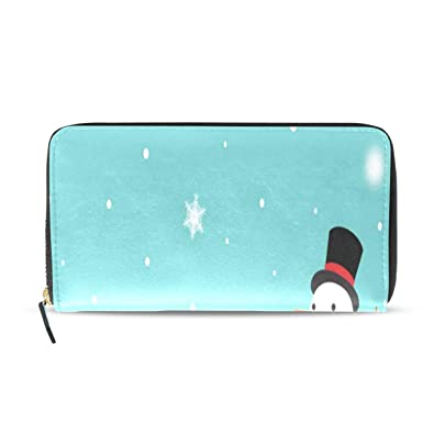 Women Wallet Purse Winter Christmas Snowman Snowflake Clutch Bag Leather