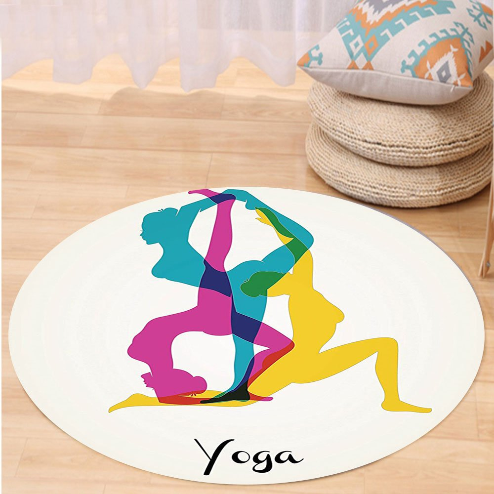 VROSELV Custom carpetYoga Decor Different Yoga Poses Energetic Female in Motion Pilates Human Health Wellbeing Design Bedroom Living Room Dorm Decor Pink Yellow Teal Round 79 inches