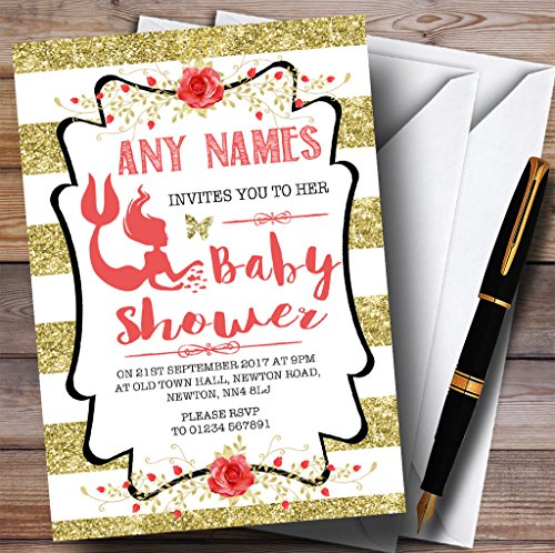 Gold Stripes Mermaid Invitations Baby Shower Invitations