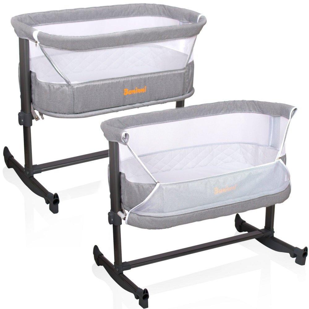 Baninni Baby Beistellbett Babybett Wiege Stubenwagen mit Schaukel Modell Nesso Höhe und Neigung einstellbar grau