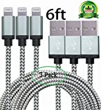 Abloom 3Pack 6ft Nylon Braided Popular Lightning Cable 8Pin to USB Charging Cable Cord with Aluminum Heads for iPhone 6/6s/6 Plus/6s Plus/5/5c/5s/SE,iPad iPod Nano iPod Touch(Gray)