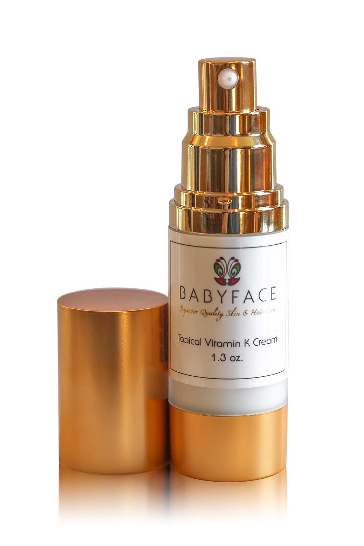 Babyface Maximum Strength Vitamin K (Menadione ) Cream - Surgery Bruising, Redness, Bruising, Healing, Spider Veins, 1.3 oz.