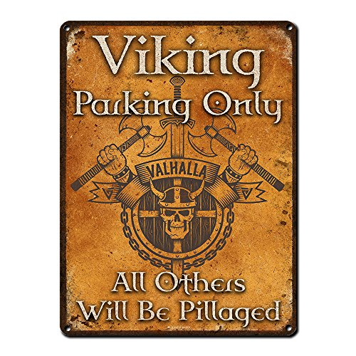Viking Parking Only, 9 x 12 Inch Metal Sign, Viking and Pirate Accessories and Wall Decor for Man Cave, Brewery, Bar, Restaurant, Gifts for Men, Dad, Boyfriend, Vintage Rusty Look, - Brewery Wall