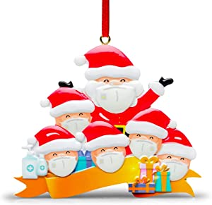 Nmoder 1 Pack 2020 Christmas Ornaments - DIY Christmas Tree Decorations, Quarantine Survivor Gifts Customized Decor for 3-6 Family Member