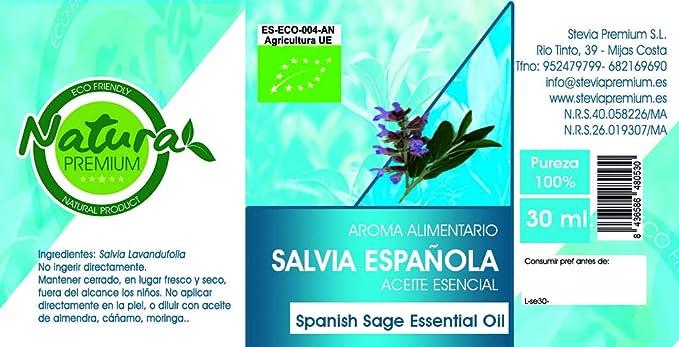 Natura Premium Aceite Esencial Salvia Española Bio 30 Ml 30 ml: Amazon.es: Alimentación y bebidas