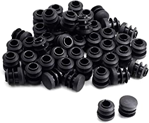 """Cyful 50 Pack 14mm/0.55"""" Round Plastic Plug Tubing End Cap Black Chair Glide Tubing End Insert Cover"""