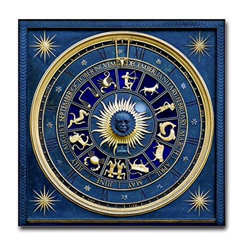 Tile Coaster (Set 4) Blue Marble Zodiac Horoscope Signs