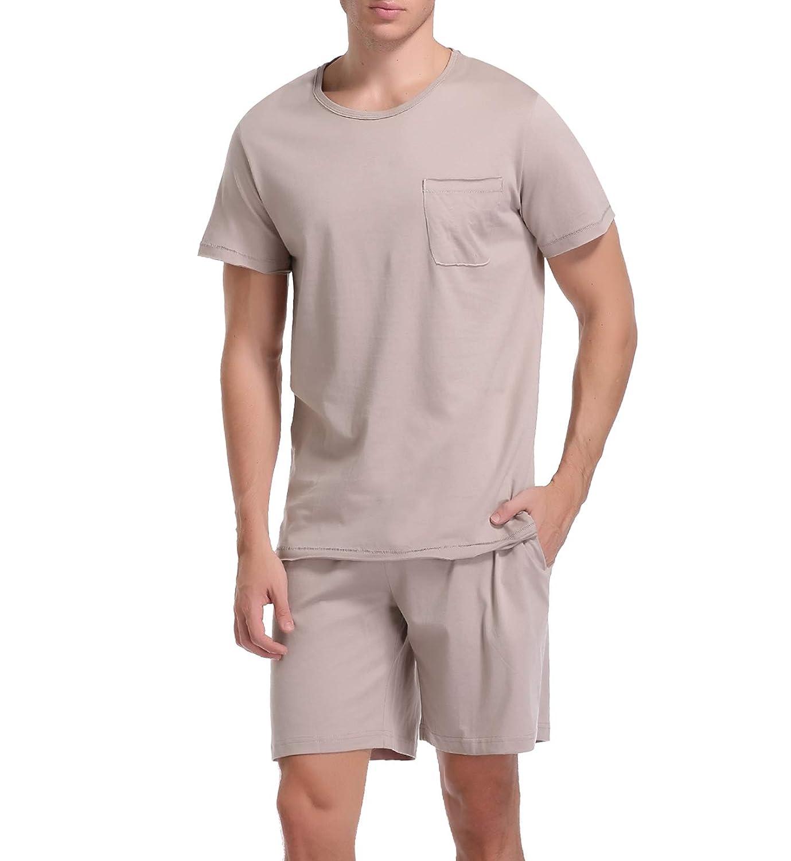 iClosam Mens Summer Pyjamas Set Cotton Short Sleeve Loungewear Sleepwear Crew Neck Solid Color Nightwear PJ Set S-XXL