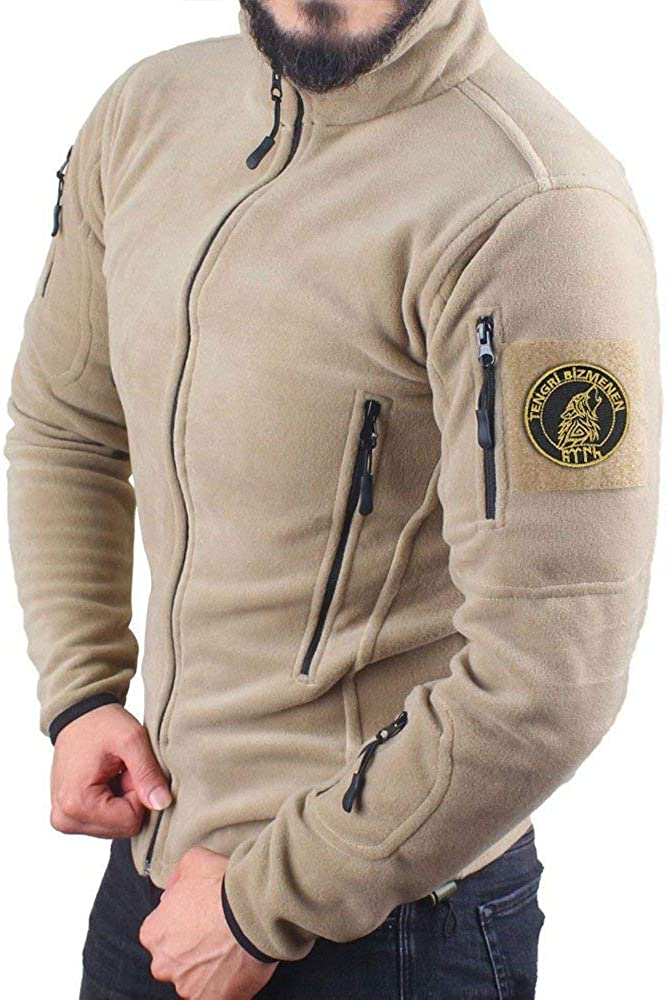 ÜLKÜCÜ Market Sweatjacke Baumwollfleece Fleecejacke Outdoor Übergangsjacke mit Reißverschluss Army 163