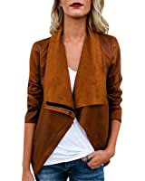 New MOSE Womens Casual Long Sleeve Autumn Winter Faux Suede Ethnic Tops Open Front Jacket Coat