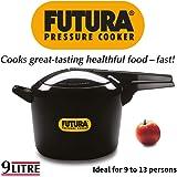 Hawkins Futura Aluminium Pressure Cooker, 9 Litres, Black
