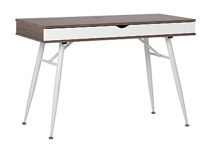 modern desk with storage long calico designs 51253 alcove modern desk with large split drawer storage whitechestnut amazoncom