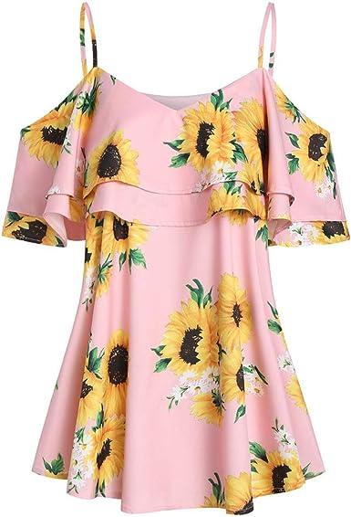 Plus Size Women Sunflower Print V-Neck Short Sleeve Ruffles Cold Shoulder Blouse