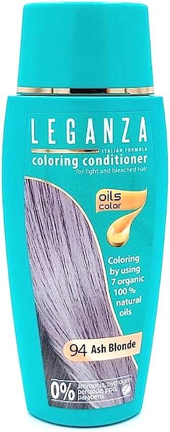 Leganza, 7 aceites naturales, bálsamo para el pelo de color rubio ceniza 94
