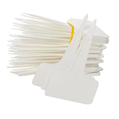 KINGLAKE 100 Pcs Thick Plastic Plant T-Type Tags Nursery Garden Labels Re-Usable Plant Tags White: Garden & Outdoor [5Bkhe1606348]