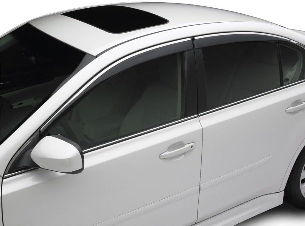 Tuningpros WD2-844 Outside Mount Window Visor Deflector Rain Guard Dark Smoke 4 Pcs Set Compatible With 2015-2016 Subaru Legacy Sedan