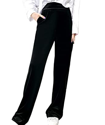 Pantalon Sport Femme Elégante Confortable Velours Large Jambe Pantalon  Training Large Fashion Taille Haute Fitness Spécial Style Casual Pantalon  Jogging ... 698cfe968b2