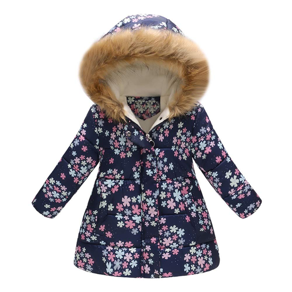 Tenworld B Toddler Girl's Windproof Winter Jacket Cotton Padded Hooded Coats 3t - 7t Kids Outerwear