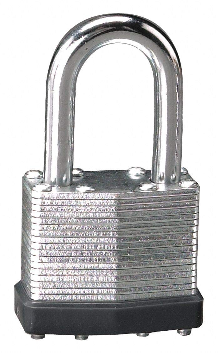 Alike-Keyed Padlock, Open Shackle Type, 1-1/2'' Shackle Height, Silver- Pack of 5
