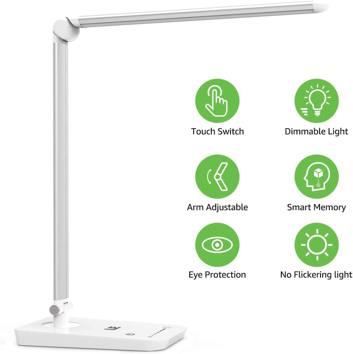 LE Lámpara de Escritorio LED, 8W 7 Niveles de Brillo, Cuidado a la Vista, Blanco frío 5000K, Luz de Mesa para Trabajo y Lectura