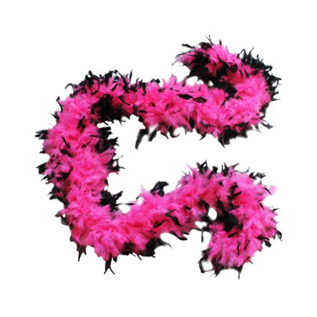 SACAS 100g Hot Pink w// Black Tips Feather Chandelle Boa