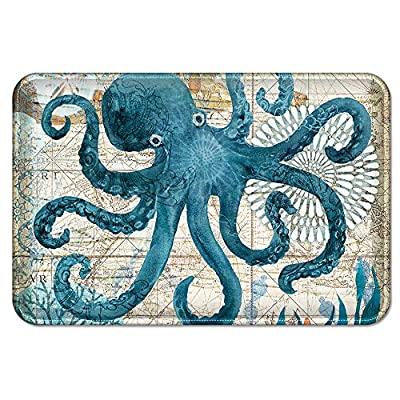 Uphome Octopus Foam Bath Mat Sea Theme Coastal Navigation Map Blue Bathroom Rugs Non-Slip Flannel Floor Bath Rug,Summer Ocean Life Bathroom Decorations,20x31 - 【Uphome Design】Reminiscent of lazy days spent on the shore, in blue and soft hues of green sea creatures and shells, this vintage Seaside Foam Bath Rug with matched shower curtain xxx (sold separately )will turn your bathroom into a coastal nautical escape. Beautiful prints of the beach, ships and sea animals adorn the rug. 【Three Layer Soft】This coastal bath mat constructed with three layer. Super cozy and soft coral surface, breathable and absorbency foam milddle and skid resistant runner backing. Those features ensured its ultra softness and absorbency. 【TPR Rubber Backing】SAFETY INSTRUCTIONS is one of the most important elements to choose a bath tub mat. Our mat is backed with Our Upgraded TPR stripe which is durable and waterproof keeping the rug stay in place, protecting the old and kids from any falling over or slipping in the bathroom. - bathroom-linens, bathroom, bath-mats - 61C1svvrVWL. SS400  -
