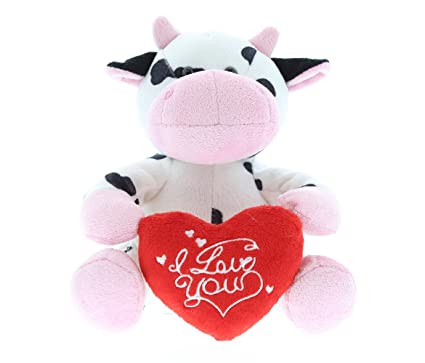 Amazon Com Dollibu Sitting Cow I Love You Stuffed Animal Plush