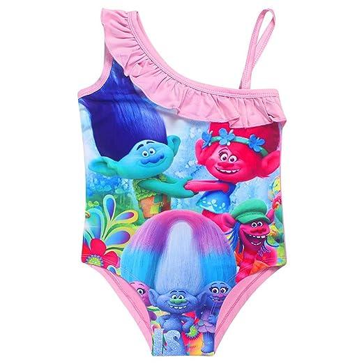 ac6f3d3ba4341 Amazon.com: KIDHF Trolls One Piece Summer Swimsuit Girls Princess Swimwear:  Clothing