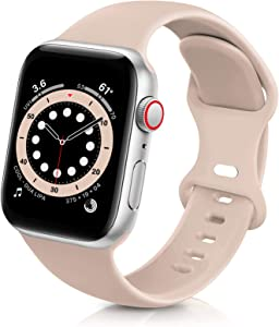 ZALAVER Bands Compatible with Apple Watch Band 38mm 40mm 42mm 44mm, Soft Silicone Sport Replacement Band Compatible with iWatch Series 6 5 4 3 2 1 Women Men Milk Tea 38mm/40mm S/M