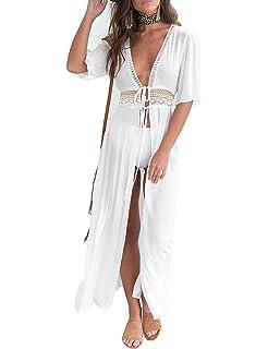 f7ede62a0a424 luvamia Women s Open Front Bikini Cover up Long Beach Swimwear Kimono  Swimsuit