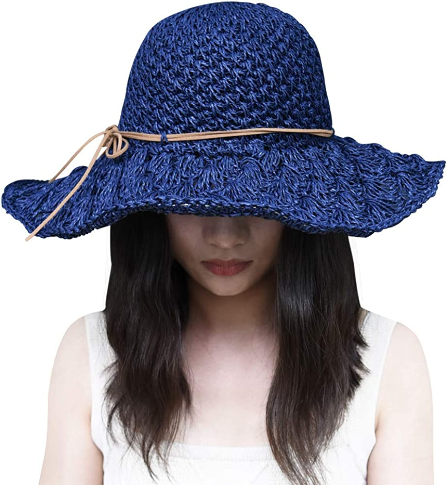 Femmes Large Bord Paille Soleil Visière Chapeau Roll Up Pliable Floppy Plage Anti-UV Cap