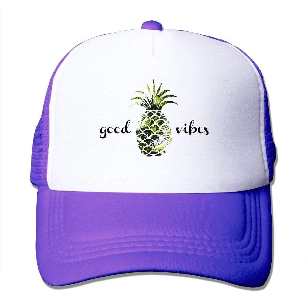 Oyxinyu Good Vibes Pineapple Palm Tree Mesh Baseball Cap Adult Adjustable Trucker Hat for Men Women