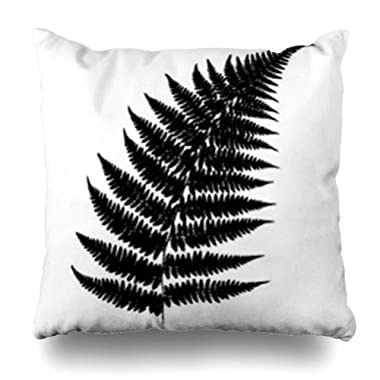 YeaSHARK Throw Pillow Covers Season Green Graphic Fern 23 On White Nature Pattern Parks Black Botanical Branch Dry Flora Outdoor Zippered Design Square 20 x20  Pillowcase Home Decor Cushion Case