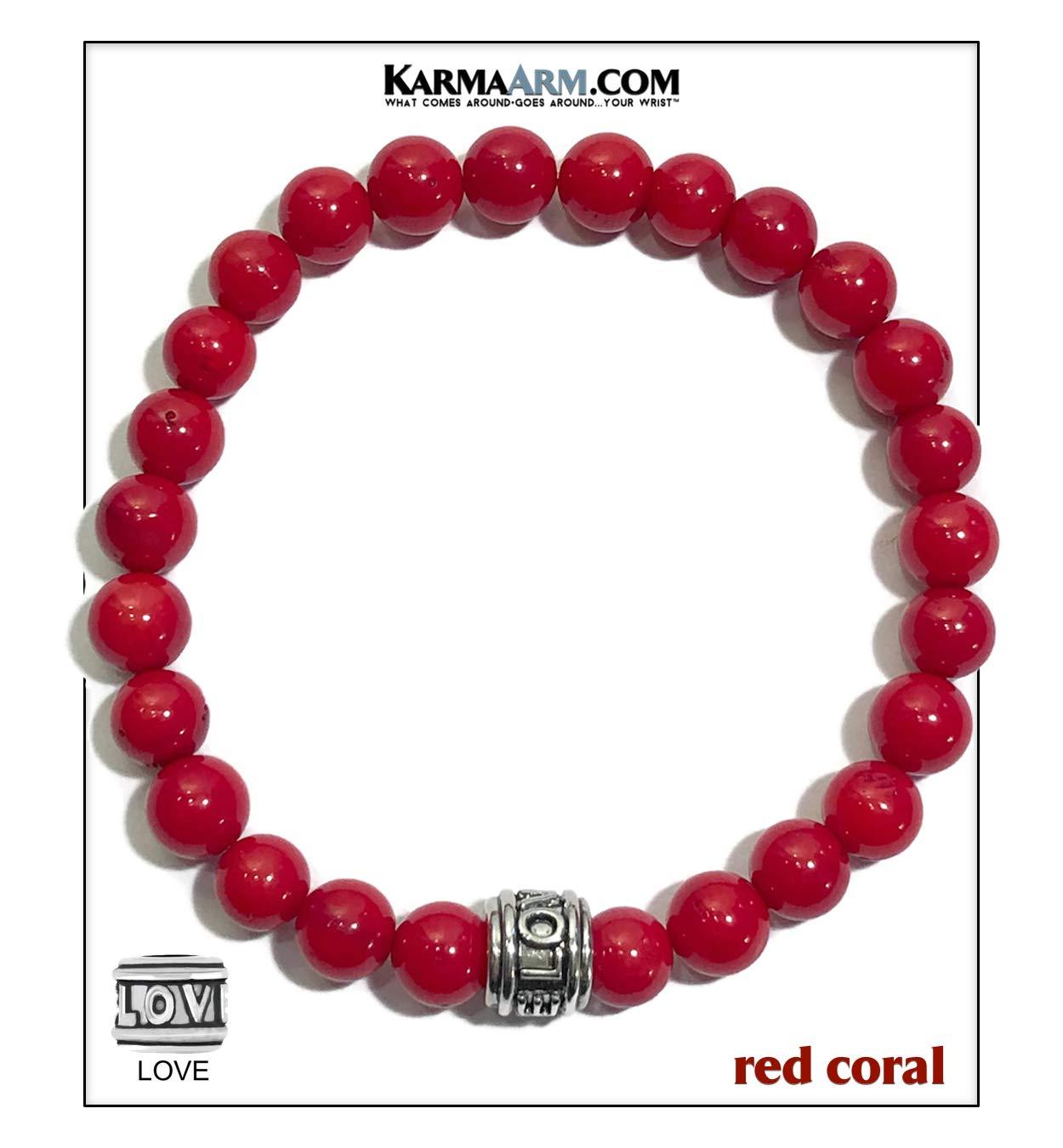KarmaArm Love Bracelet | Optimism | Red Coral Meditation Mantra Mala | Reiki Healing Energy Beaded Anxiety Calming Zen Wellness Self-Care Chakra Yoga Wristband Bead Jewelry (7)