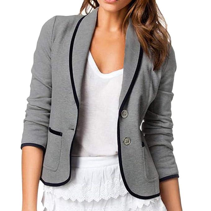 Mujer Manga Larga Blazer, Moda Color Sólido Slim Traje Chaqueta con Bolsillos Mujeres Casual OL Oficina Negocio Trabajo Abrigo Corto Outwear Arriba Tallas Grandes