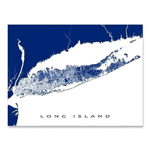 Hamptons New York Map.Amazon Com Long Island Map Print New York Usa Street Art Poster
