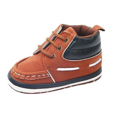 YanHoo Zapatos Antideslizantes para bebés Zapatos para niños pequeños Zapatos Altos Bebés niños Zapatos Cuna sólida y Suave Antideslizante con Cordones ...