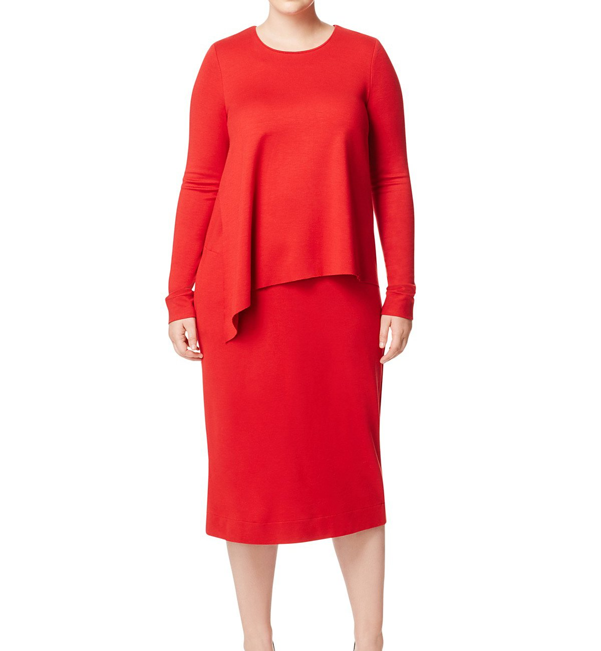 Marina Rinaldi Women's One Overlay Jersey Dress, Red, Large