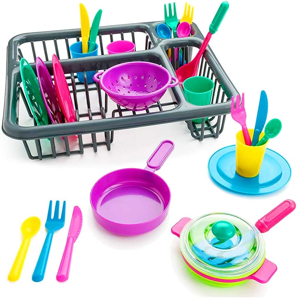 28 Pcs Kids Kitchen Dish Rack Toy Play Set Food Plates Dishes Toys Accessories Pretend Plastic Plate Sets Utensils Cups Playset Bowls Sink Pans Pots Silverware Wash Drying Drainer Dishwasher Kit
