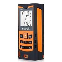 Suaoki S9 - 60M Télémètre Laser, Metre laser numérique intelligent, +/- 1.5mm haute précision, Etanche IP54, distances simples et continues(min/max), zone, volume, Pythagore, zone triangulaire, fonction de mesure soustraire / soustraire