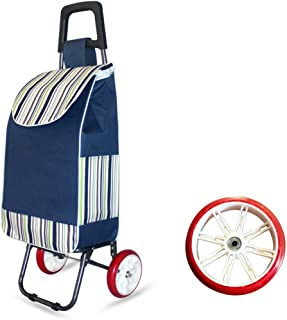 IAIZI Chariot Pliant de Panier de Chariot à achats de Chariot à achats de Chariot à Grande capacité de Chariot Pliant avec 2 Roues (Couleur : Bleu)