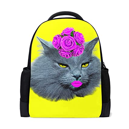 Image Unavailable. Image not available for. Color  Yellow Funny Cat Backpack  ... b00755b178f62