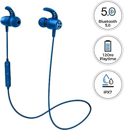 Mpow S16 Auricolari Wireless Sport 12H Playtime, Cuffie Bluetooth Magnetici Impermeabili IPX7 con Bassi Stereo HD, Microfono Incorporato, Auricolari