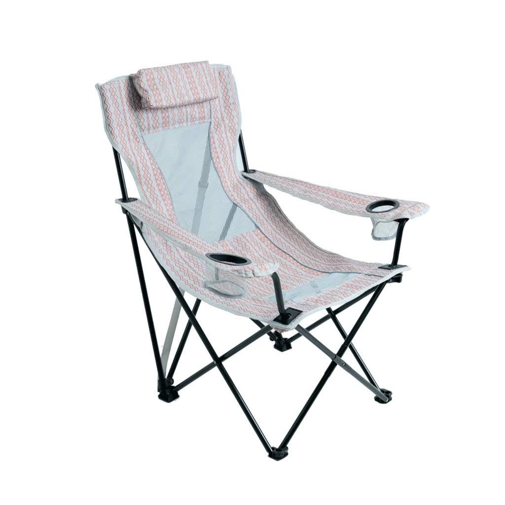 HYXI-Klappstuhl Klappstuhl im Freien, Lehnsessel, Wanderer-Strand-Fischen-kampierender Skizzen-Stuhl/Kopfstütze / maximale Last 110KG