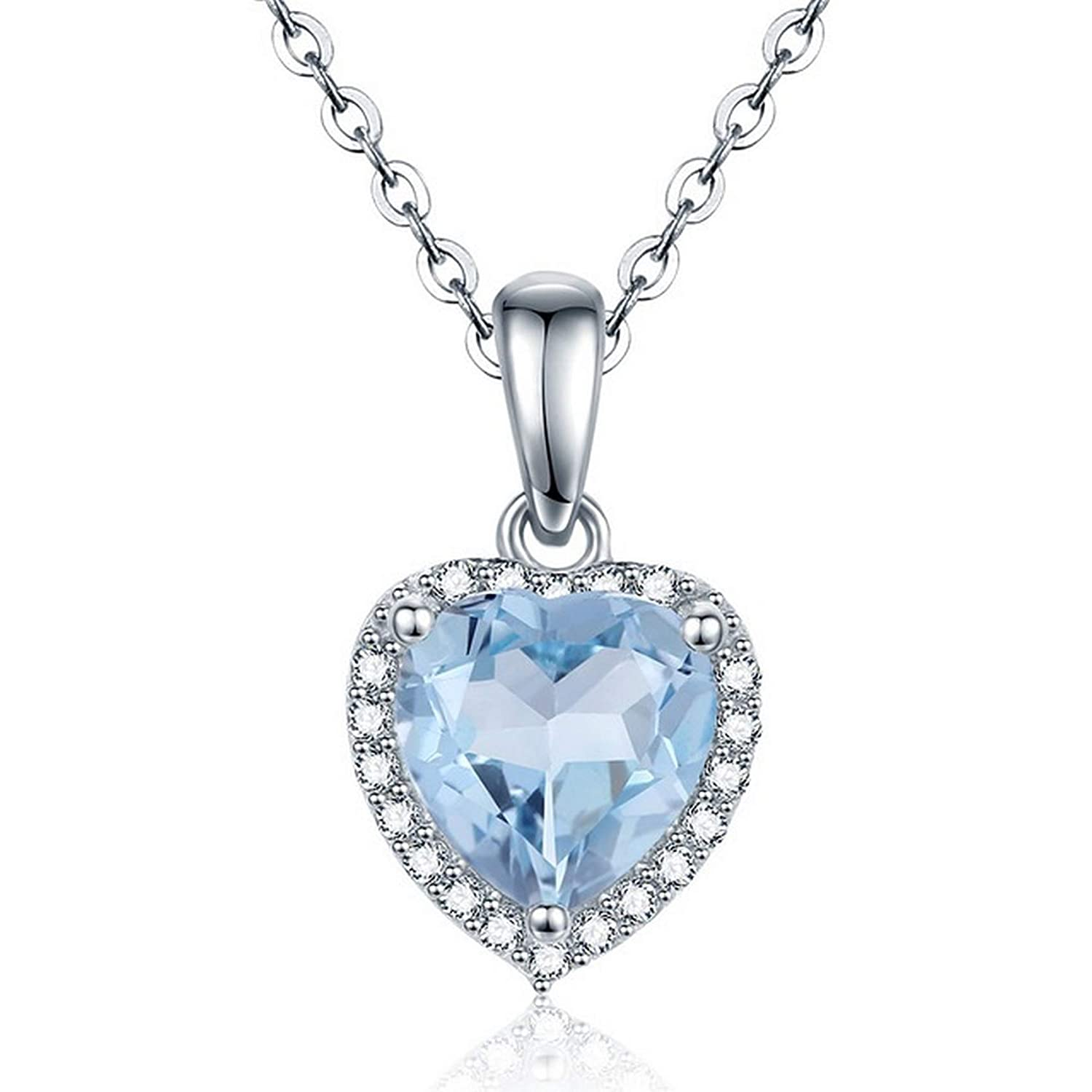MMC Womens 1.44ct Natural Heart Blue Topaz Gift Silver Pendants Necklaces