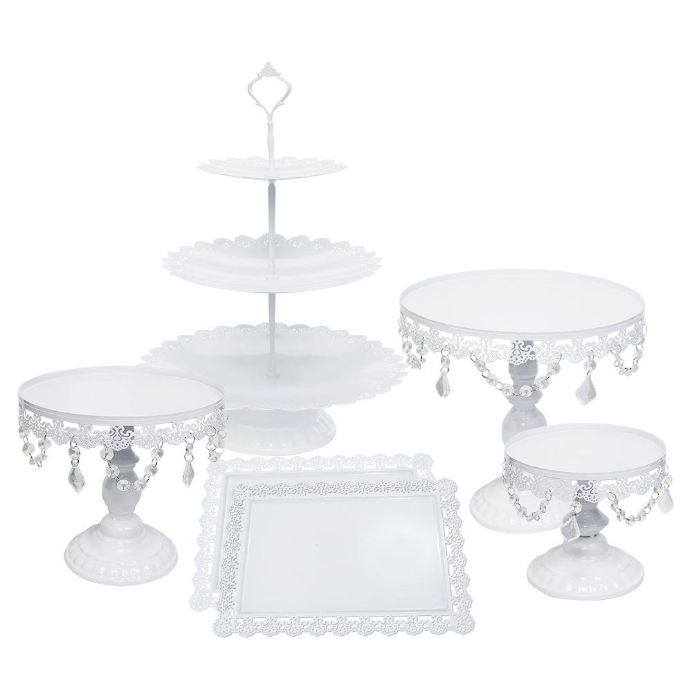 ZXMOTO 3pcs Set Cupcake Stand Classical Metal Dessert Wedding Birthday Party Cupcake Holder Cake Tray with Crystal Pendants,Gold